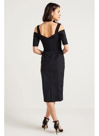 Rue Kalın Askı Omuz Dekolteli Dar Elbise Siyah